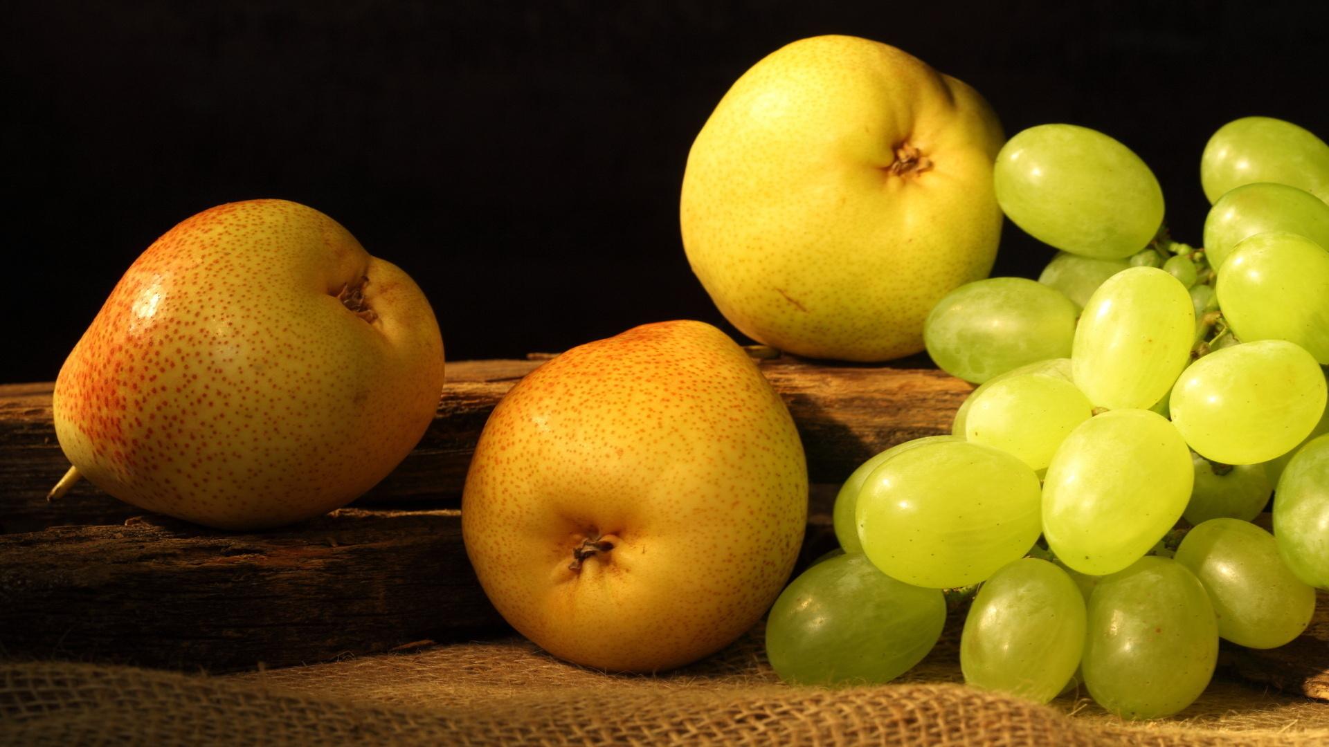 фрукты, виноград, груши, фото, обои для рабочего стола