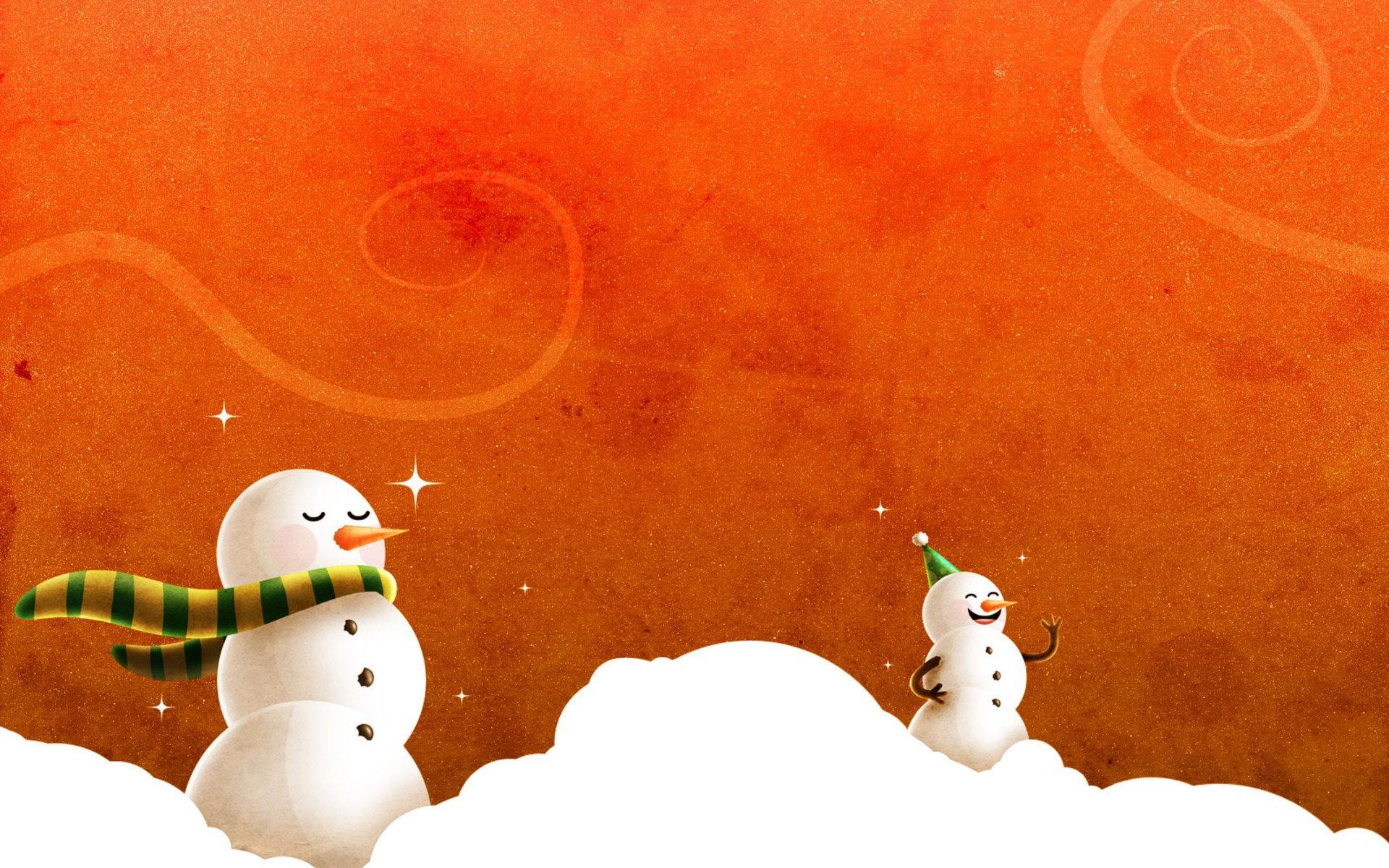 Снеговики, снег, обои для рабочего стола, зимние обои, скачать
