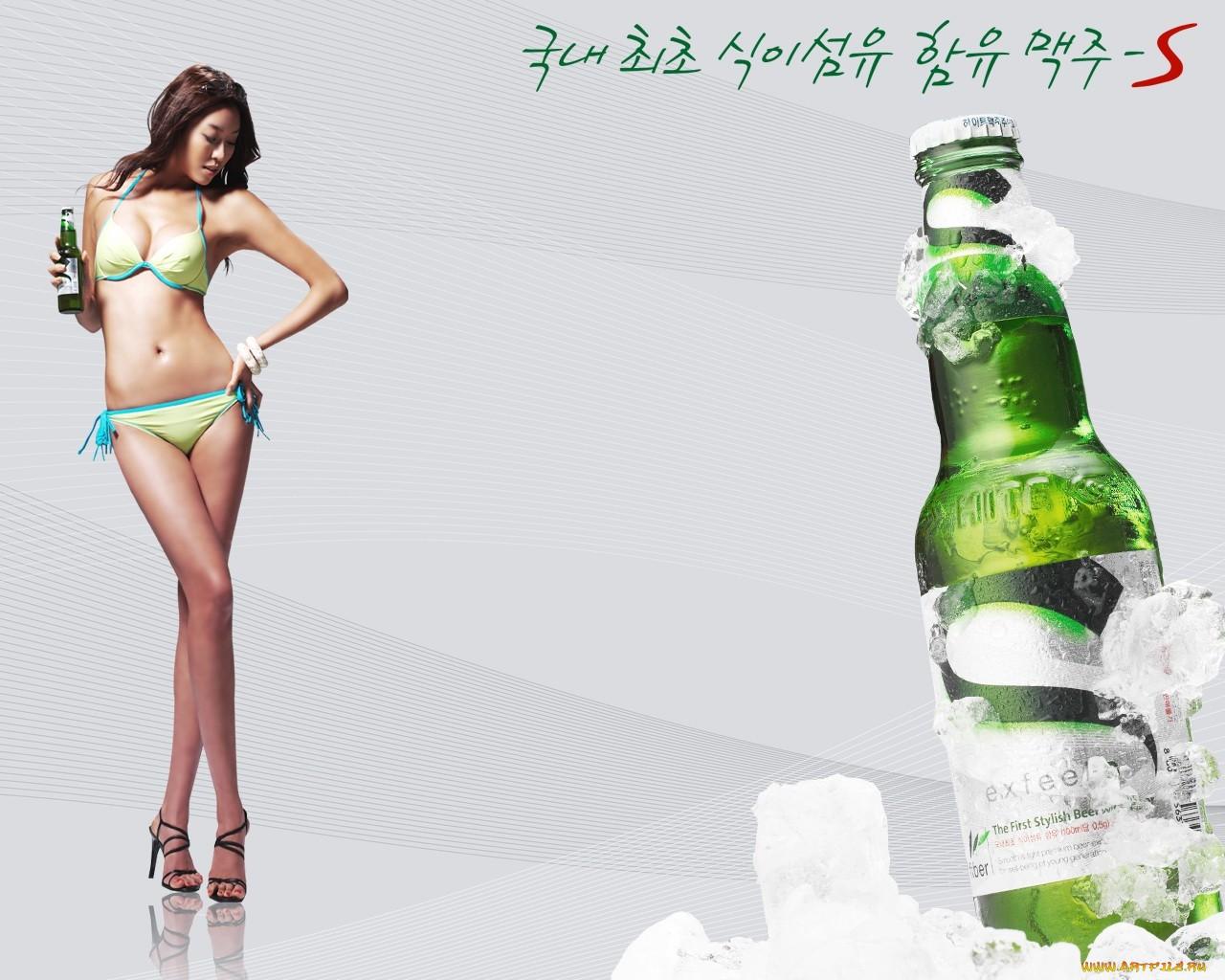 девушка и пиво, фото, обои для рабочего стола, секси