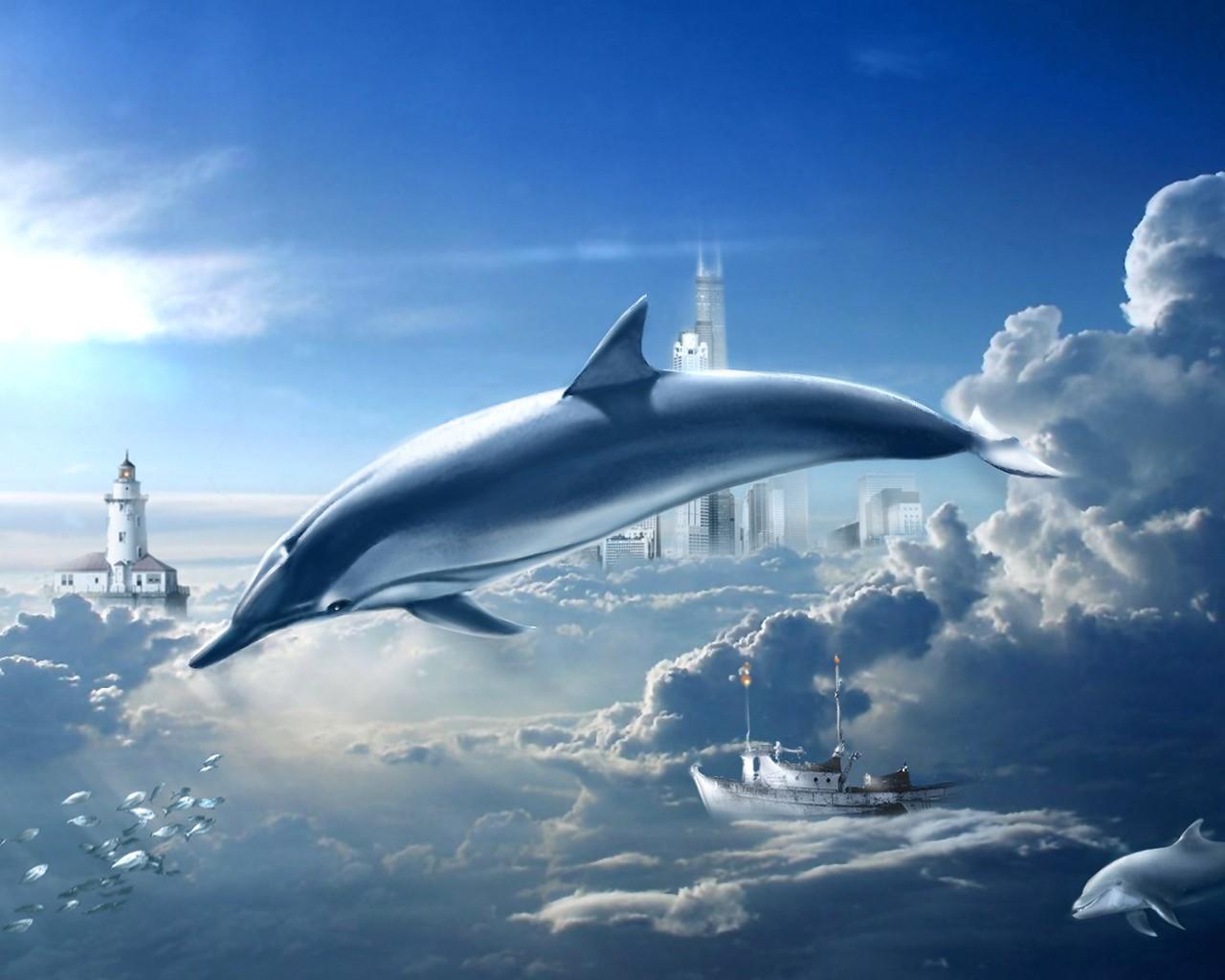 Дельфин в воздухе, фото, скачать обои для рабочего стола