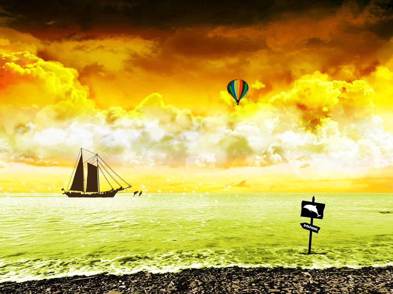 рисунок, море, скачтаь обои, для рабочего стола