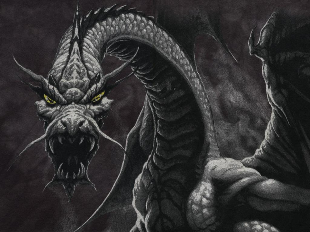 серыйдркон, темный дракон, рисунок, обои для рабочего стола