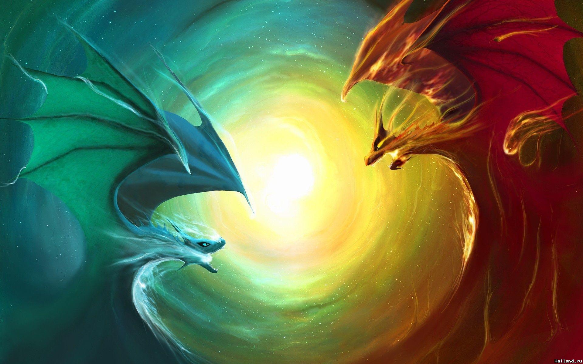 fire and ice, обои для рабочего стола, драконы, фото, рисунок