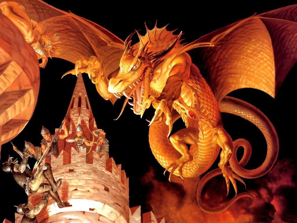 большой рыжий дракон, рисунок, обои на рабочий стол