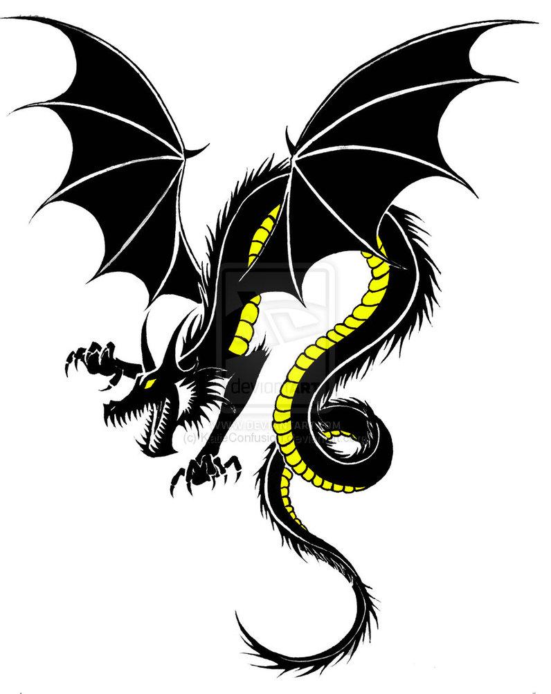 клипарт дракон, черный, скачать фото, обои для рабочего стола