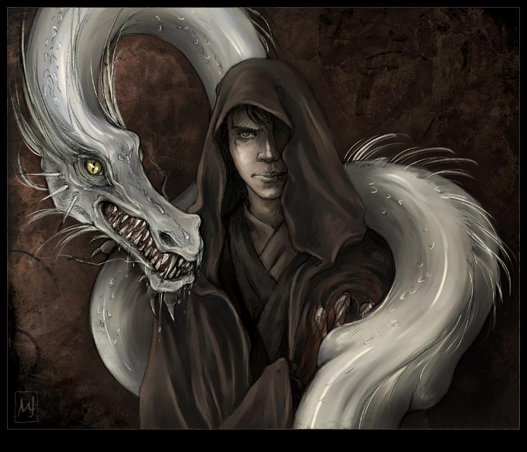 серый дракон и маг, скачать фото, обои для рабочего стола