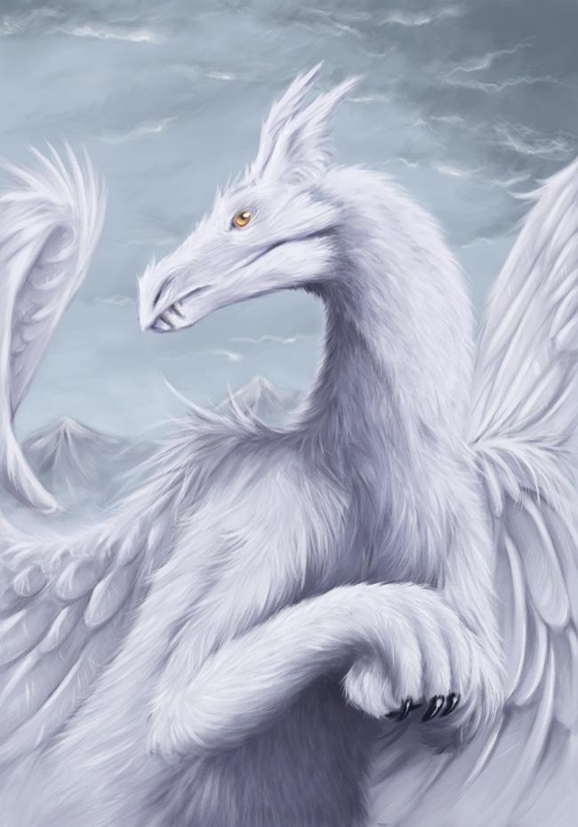 Белый ледяной пушистый дракон, скачать фото, обои для рабочего стола