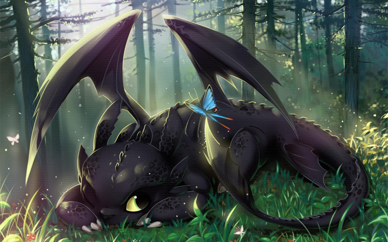 черный дракон лежит на поляне, фото, обои скачать для рабочего стола, wallpaper, dragon