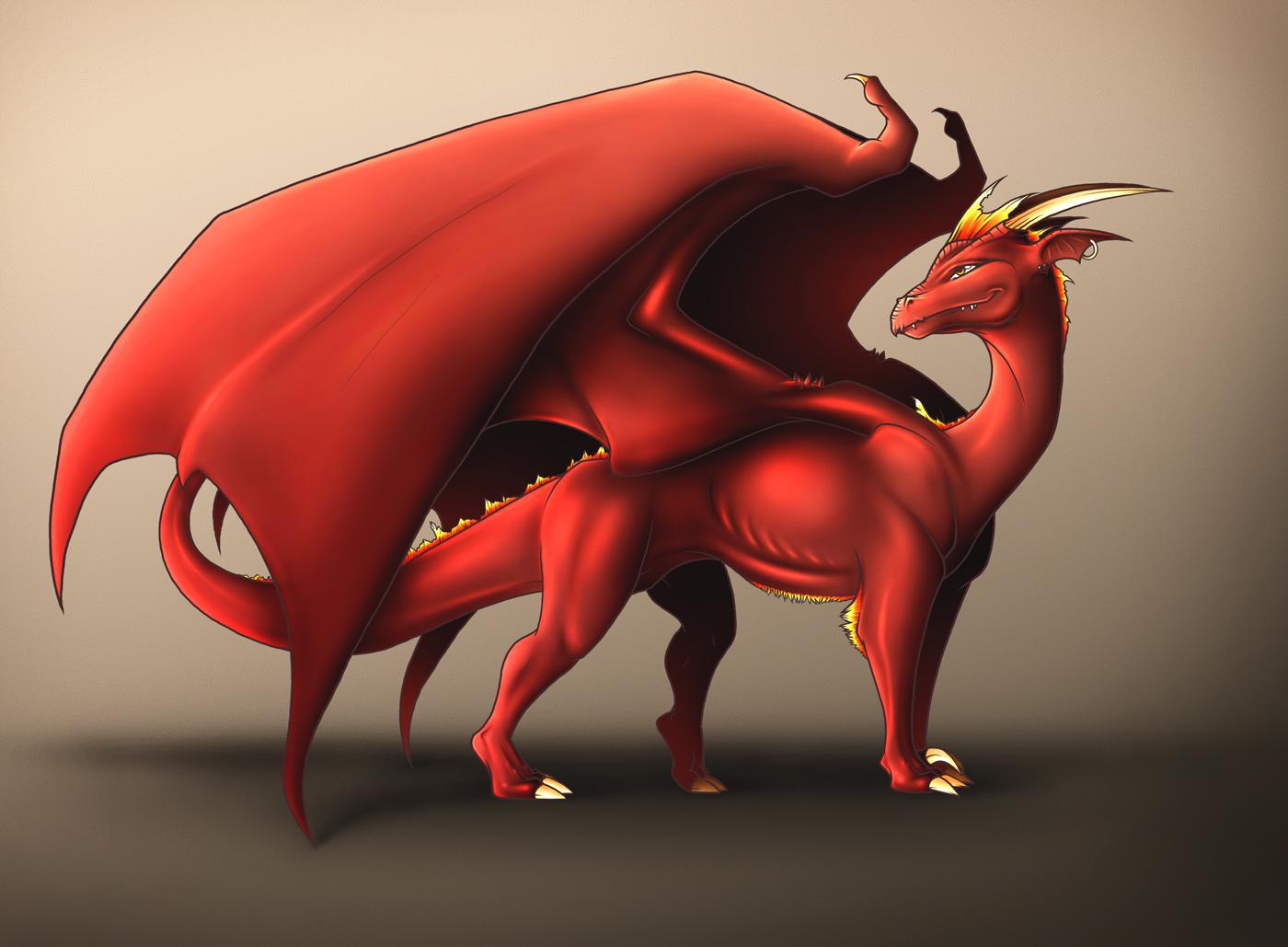 огненный красный дракон с крыльями, фото, скачать обои для рабочего стола