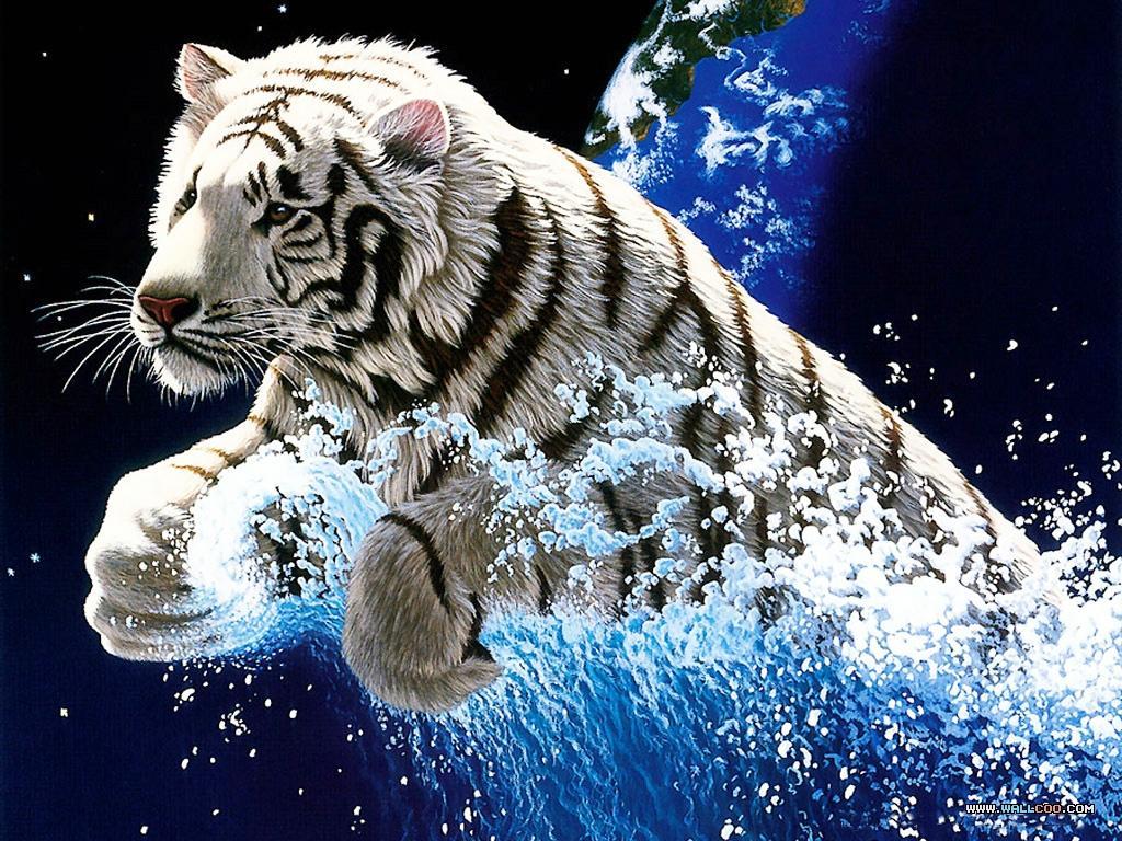 белый тигр прыгает, фото, скачать