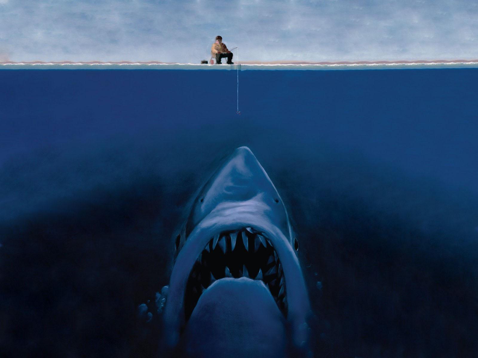 рыбак и акула, рисунок, обои для рабочего стола