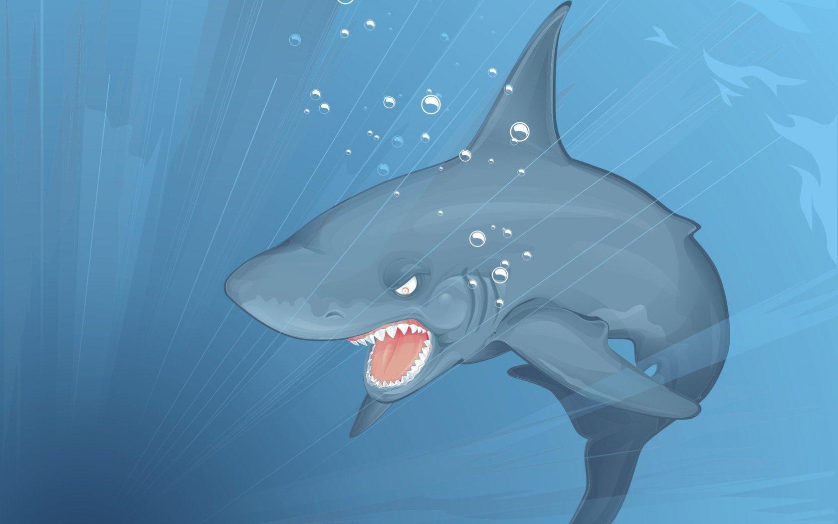 рисованная акула, обои на рабочий стол