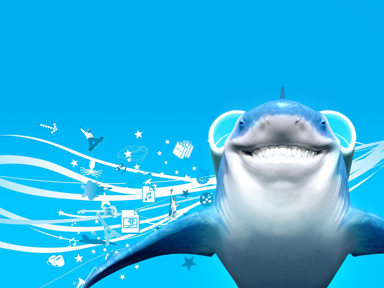прикольные обои для рабочего стола, акула, скачать