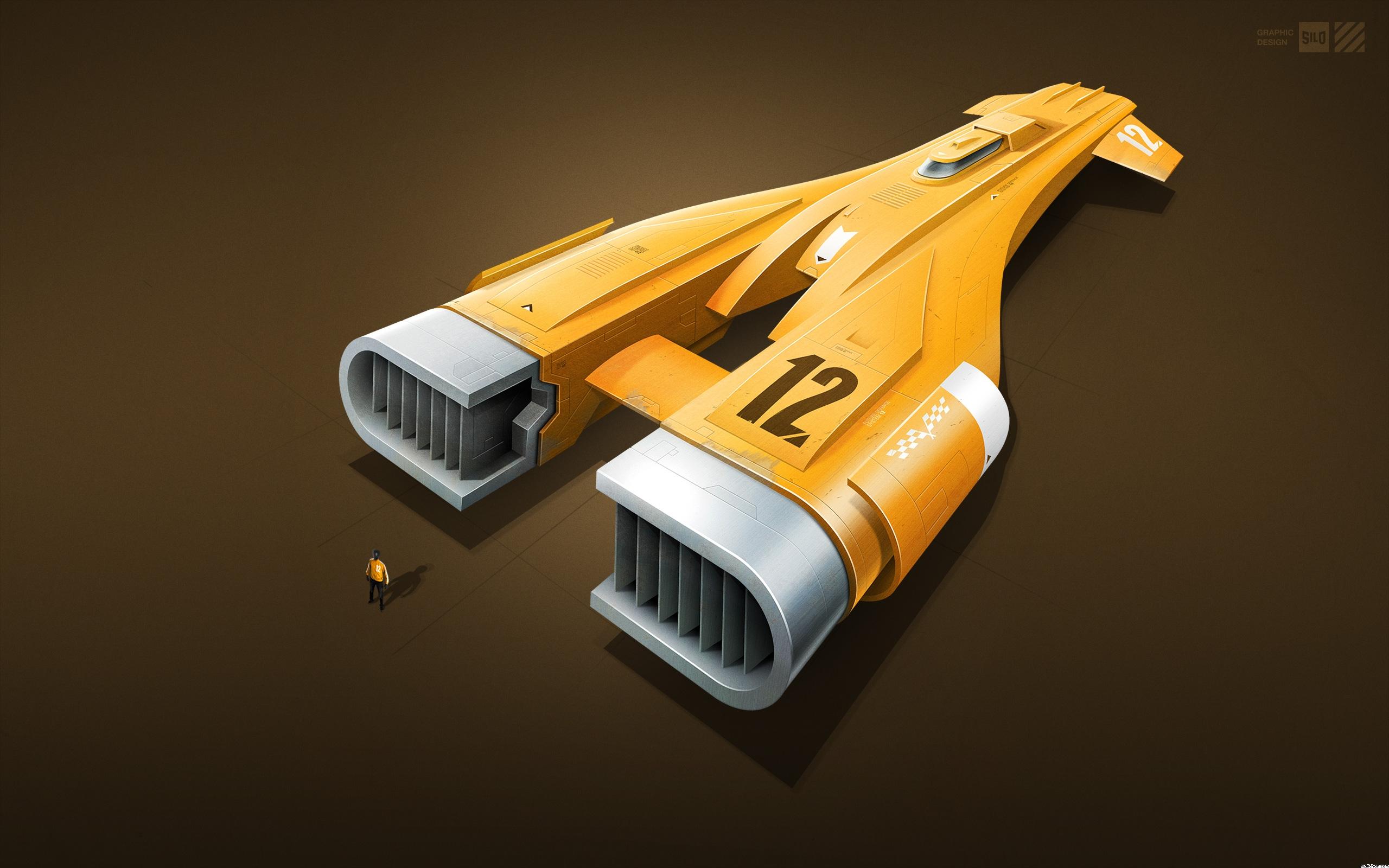 космический корабль, оранжевые обои, spaceship, wallpaper