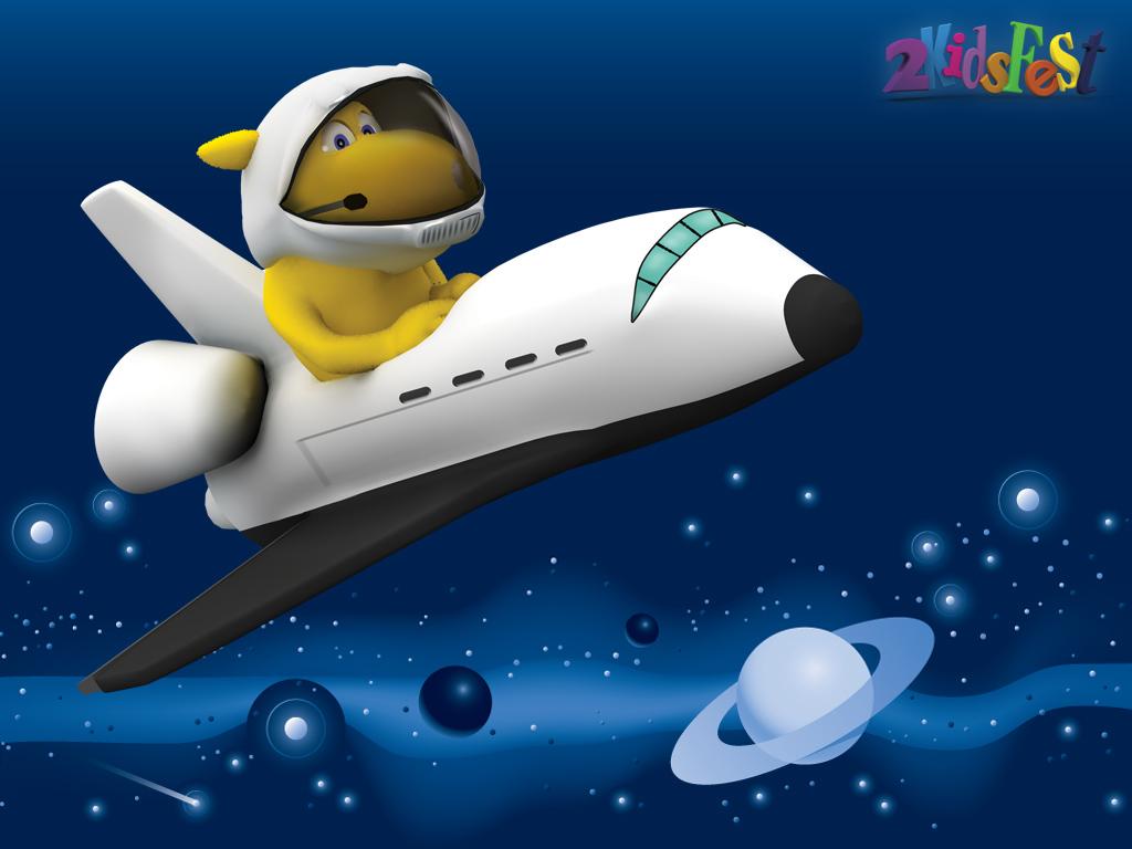 собачка щенок летит на космическом корабле, рисунок, обои для рабочего стола