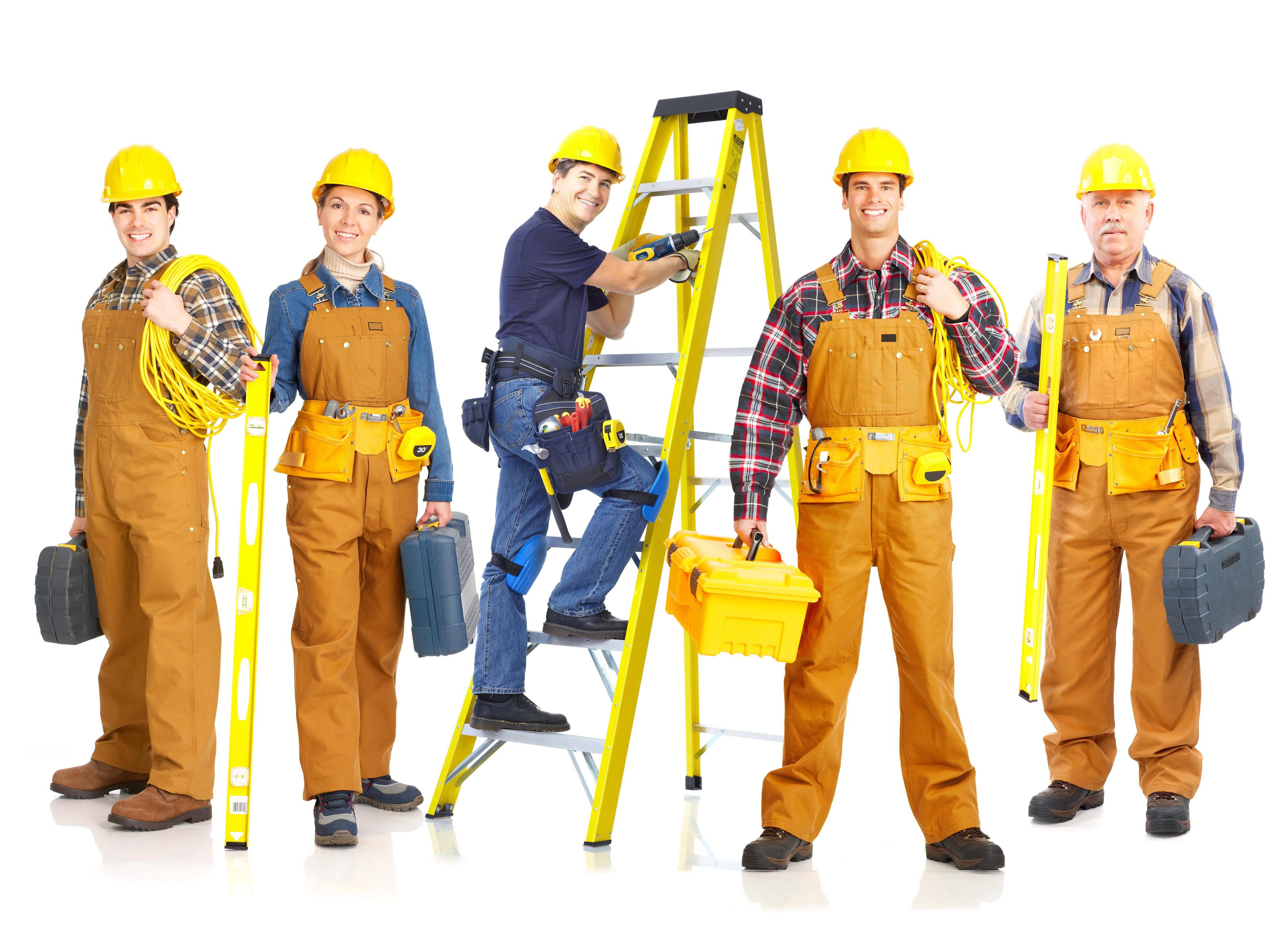 строители стоят с инструметом, фото, обои для рабочего стола, скачать