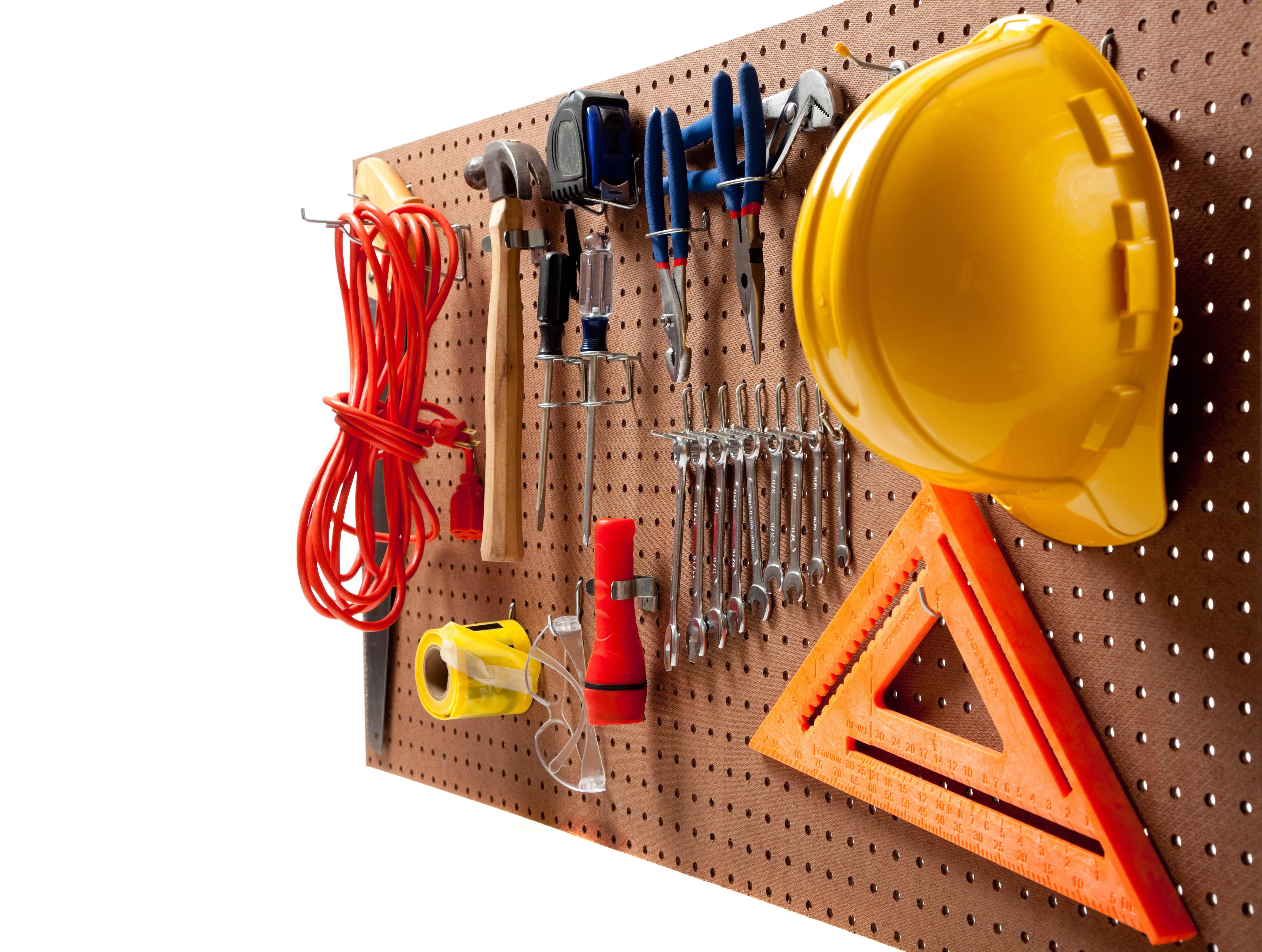 инструменты, стенд, строительная каска, желтая каска, фото, обои для рабочего стола