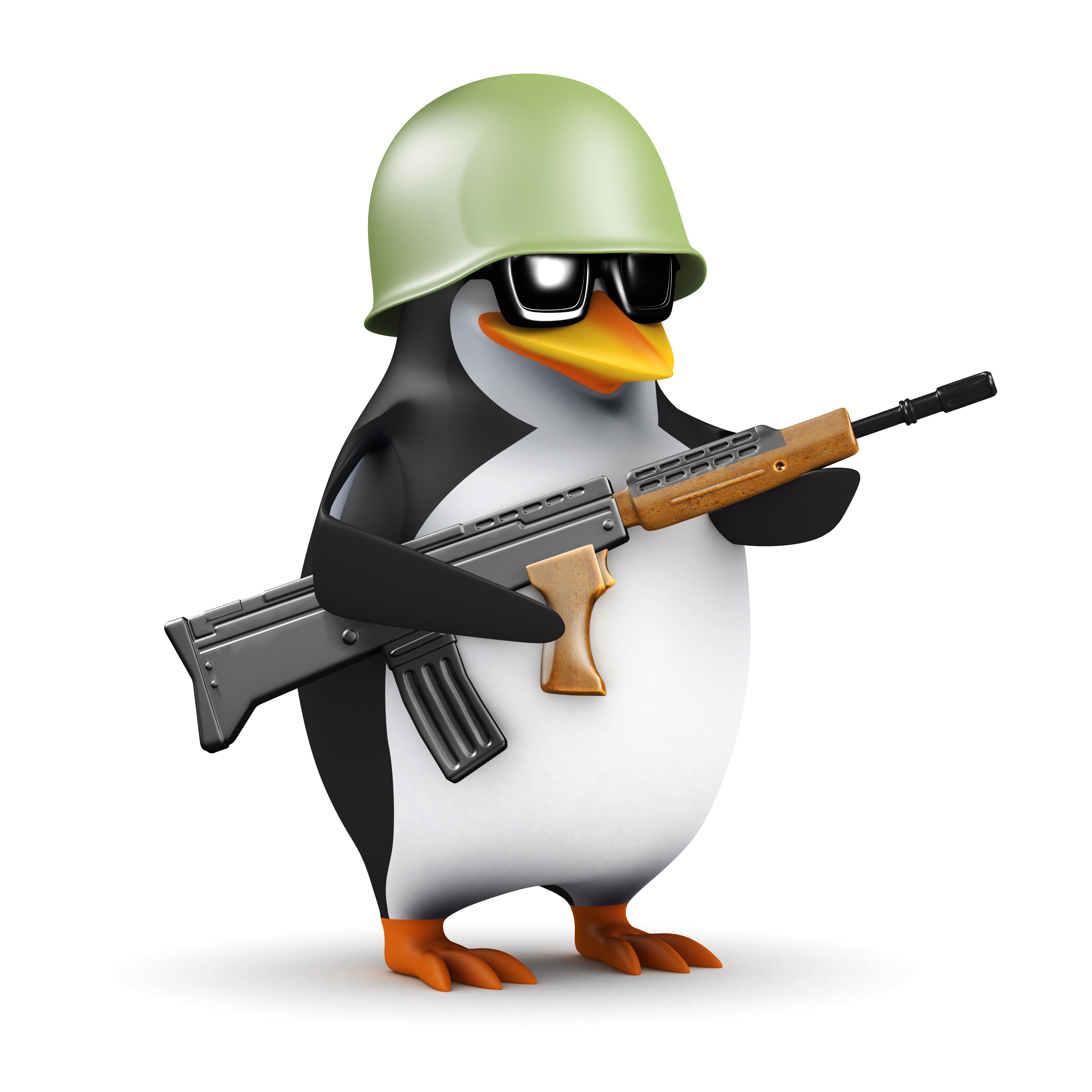 пингвин с автоматом и в каске, фото, обои для рабочего стола, клипарт