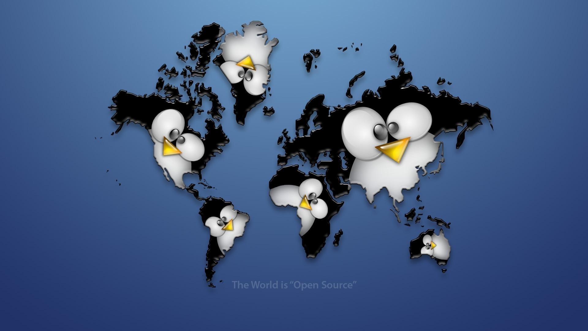 фото, карта мира, пингвин, скачать обои для рабочего стола, пингвины, Linux