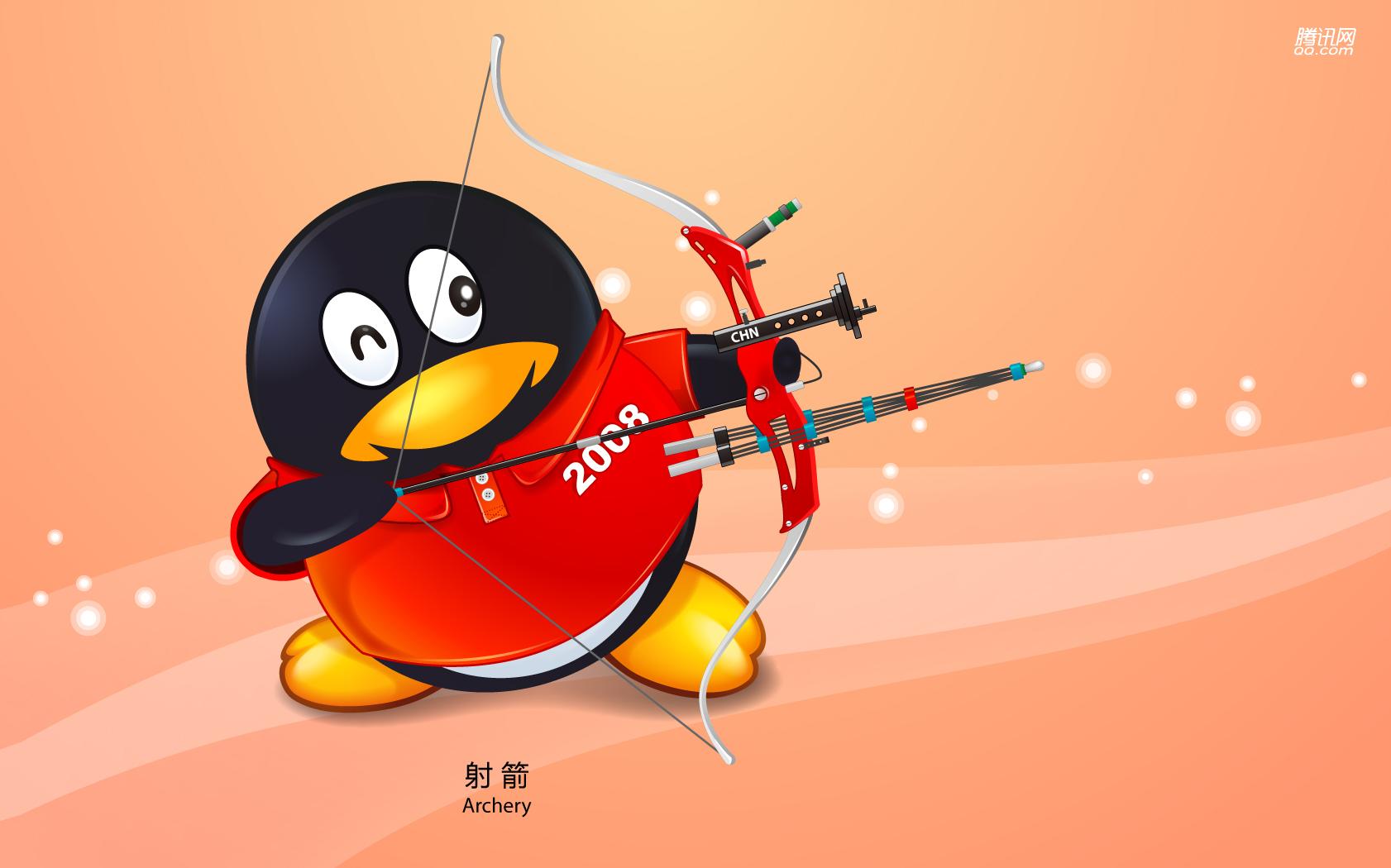Пекин олимпиада 2008, символ, пингвин, стрельба с лука, скачать фото, обои для рабочего стола
