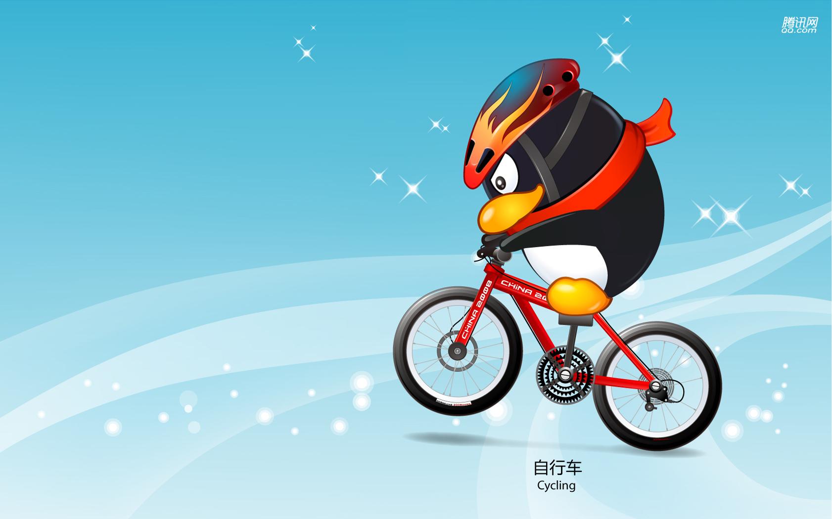 Пекин олимпиада 2008, символ, пингвин, велоспорт, BMX, скачать фото, обои для рабочего стола