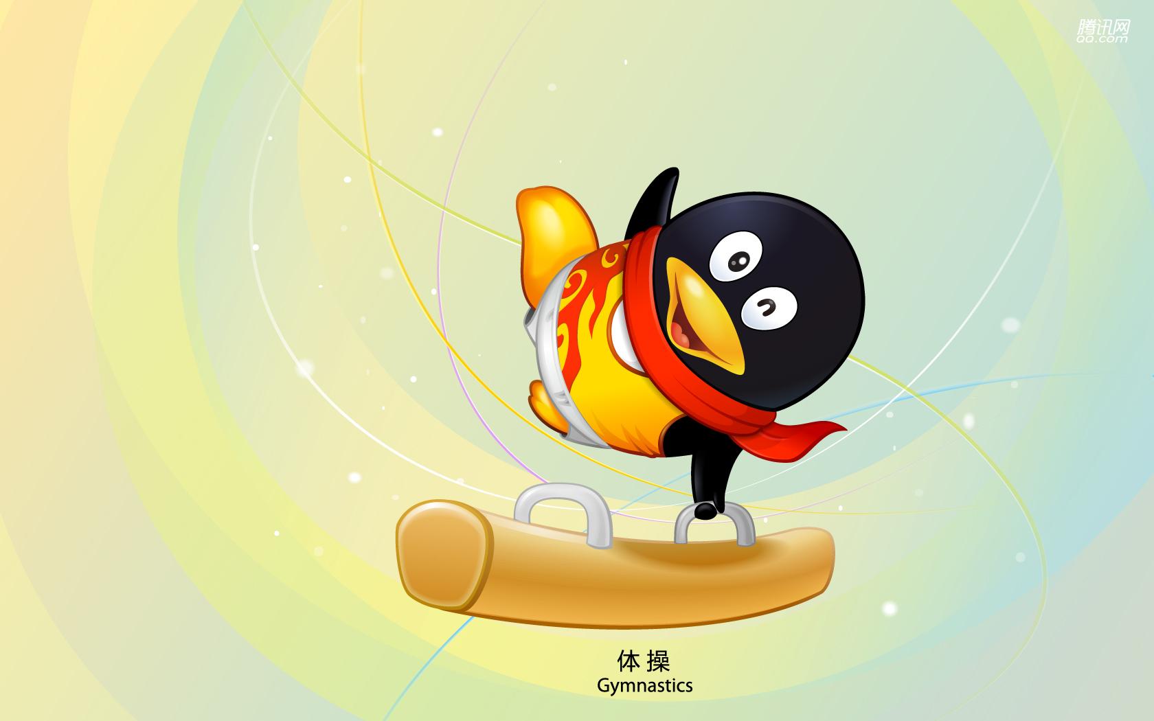 Пекин олимпиада 2008, символ, пингвин, гимнастика, скачать фото, обои для рабочего стола