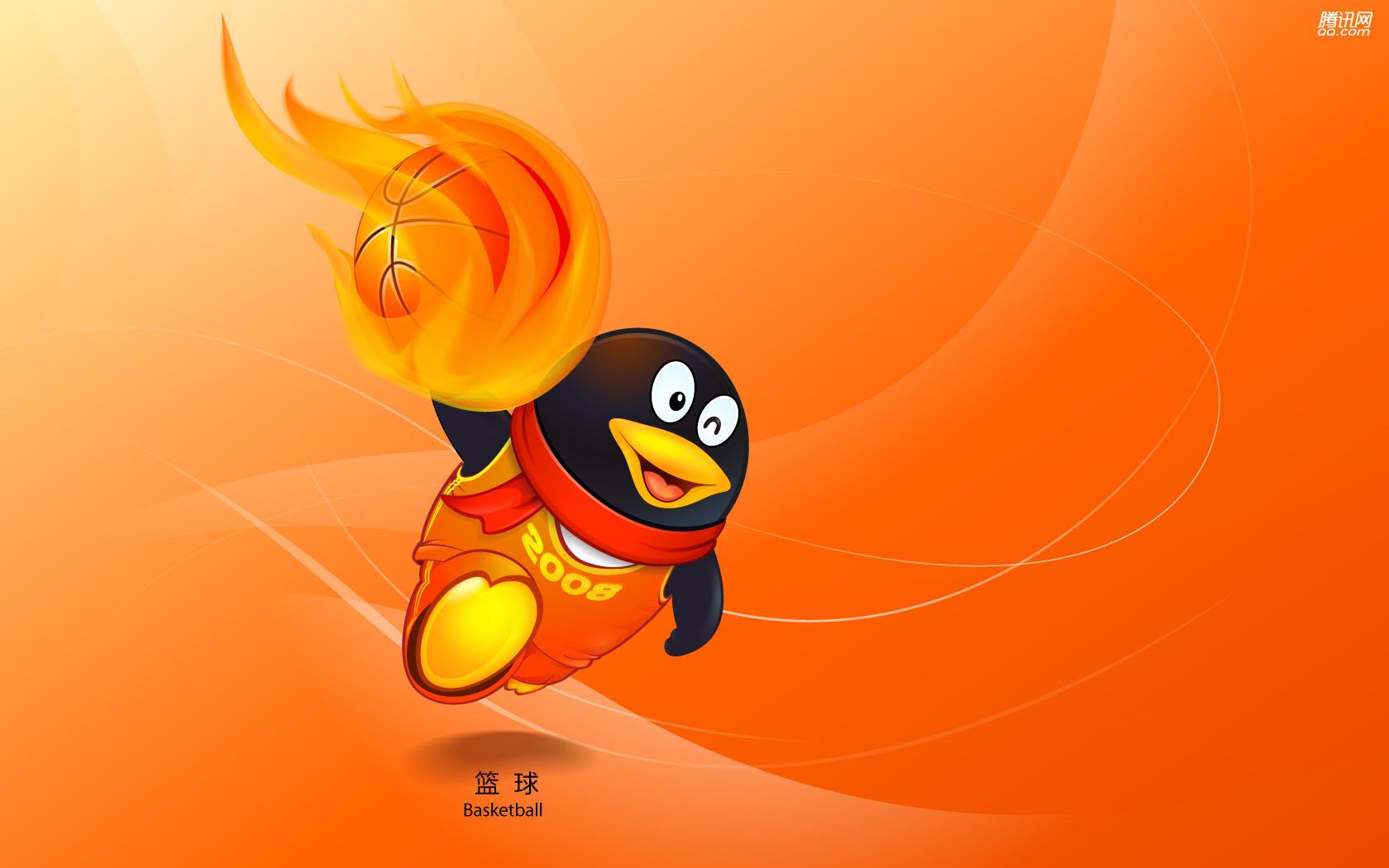 Пекин олимпиада 2008, символ, пингвин, баскетбол, скачать фото, обои для рабочего стола