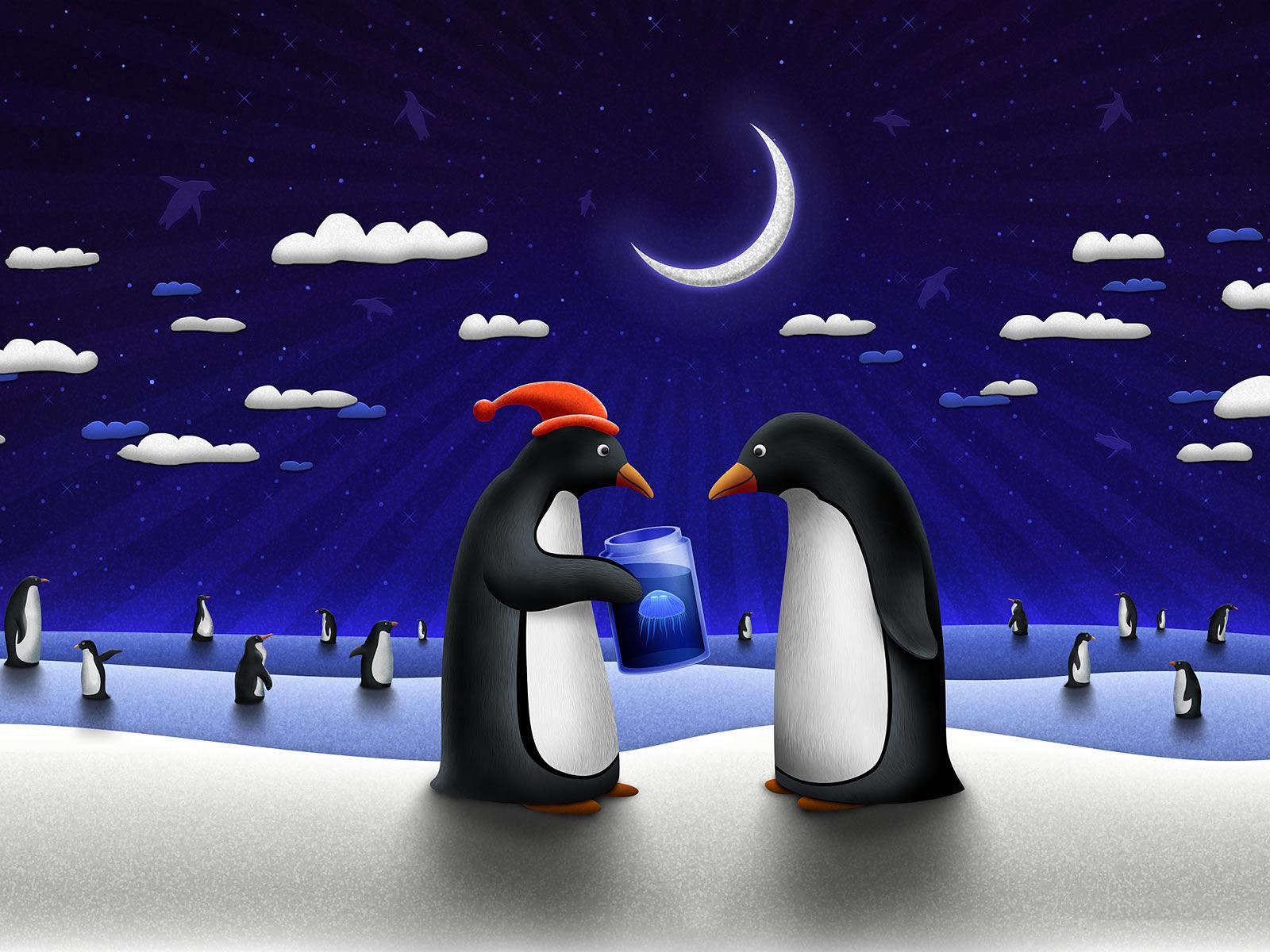 пингвины, луна, фото, обои для рабочего стола