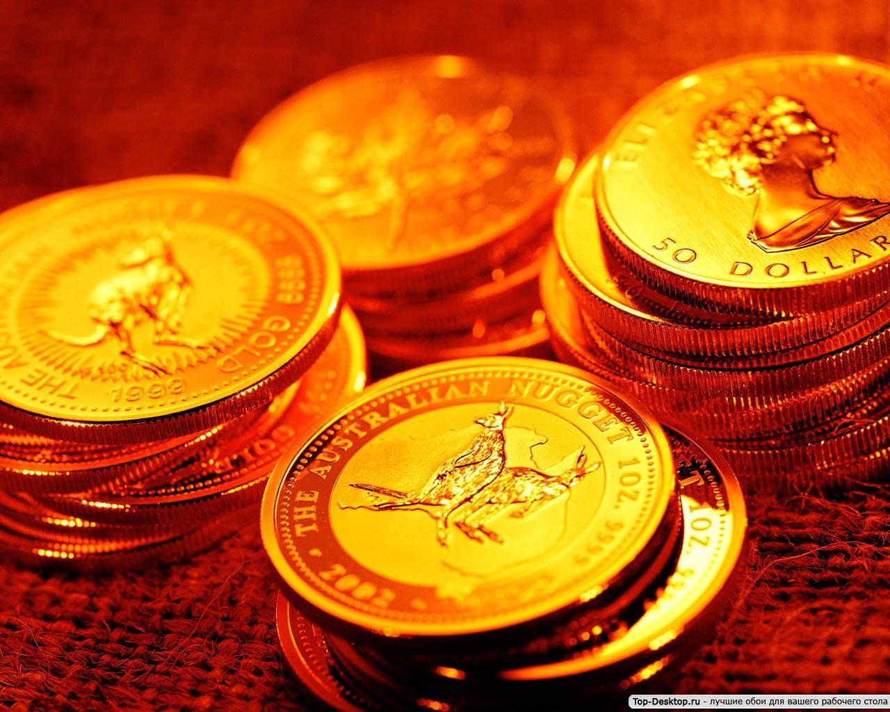 На рабочий стол золотые монеты фото