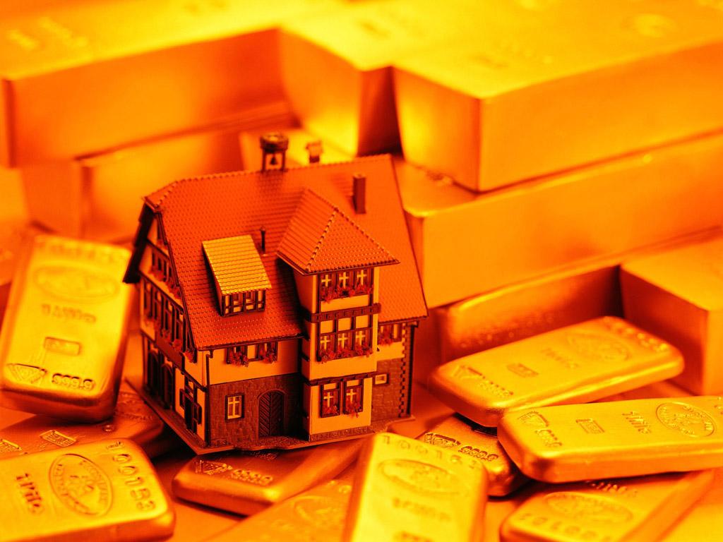 золотые слитки и дом, скачать фото, обои для рабочего стола