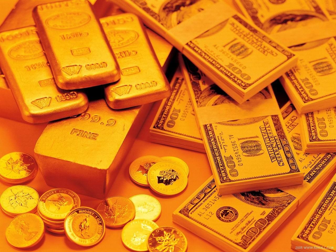 доллары и золото, скачать фото, обои для рабочего стола