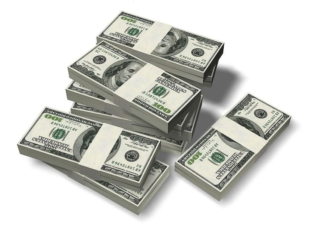 пачки долларов, деньги, доллары, dollars