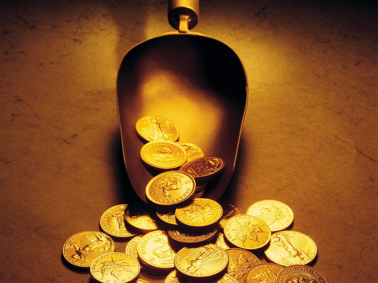 золотые монеты, скачать фото, обои на рабочий стол