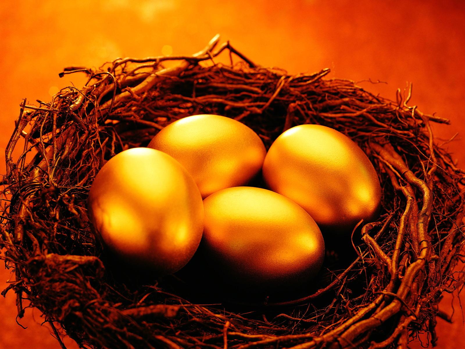золотые яйца в гнезде, скачать фото, обои для рабочего стола, gold wallpaper