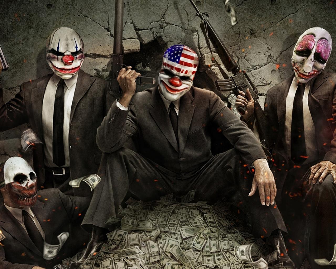 куча денег, долларов, бандиты, скачать фото, обои для рабочего стола