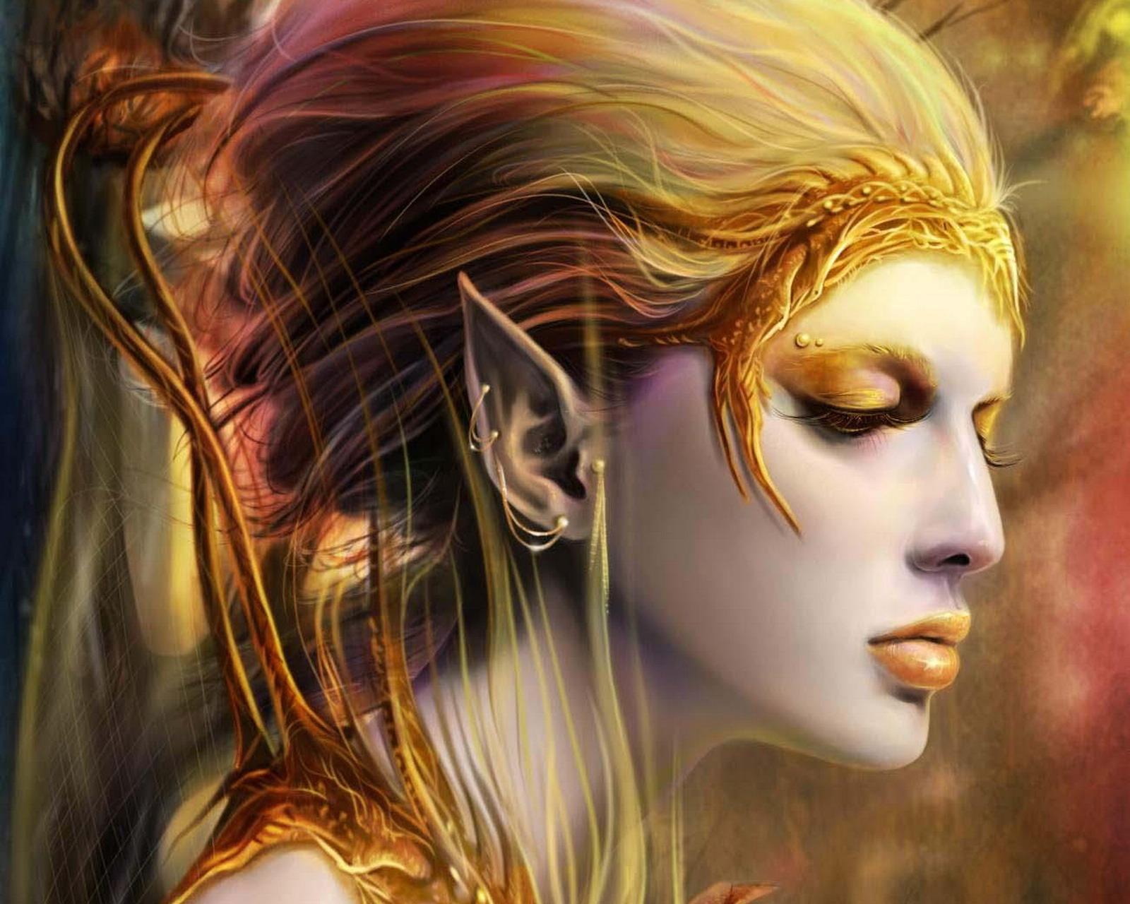 бледная девушка эльф, elf women, wallpaper, рисунок