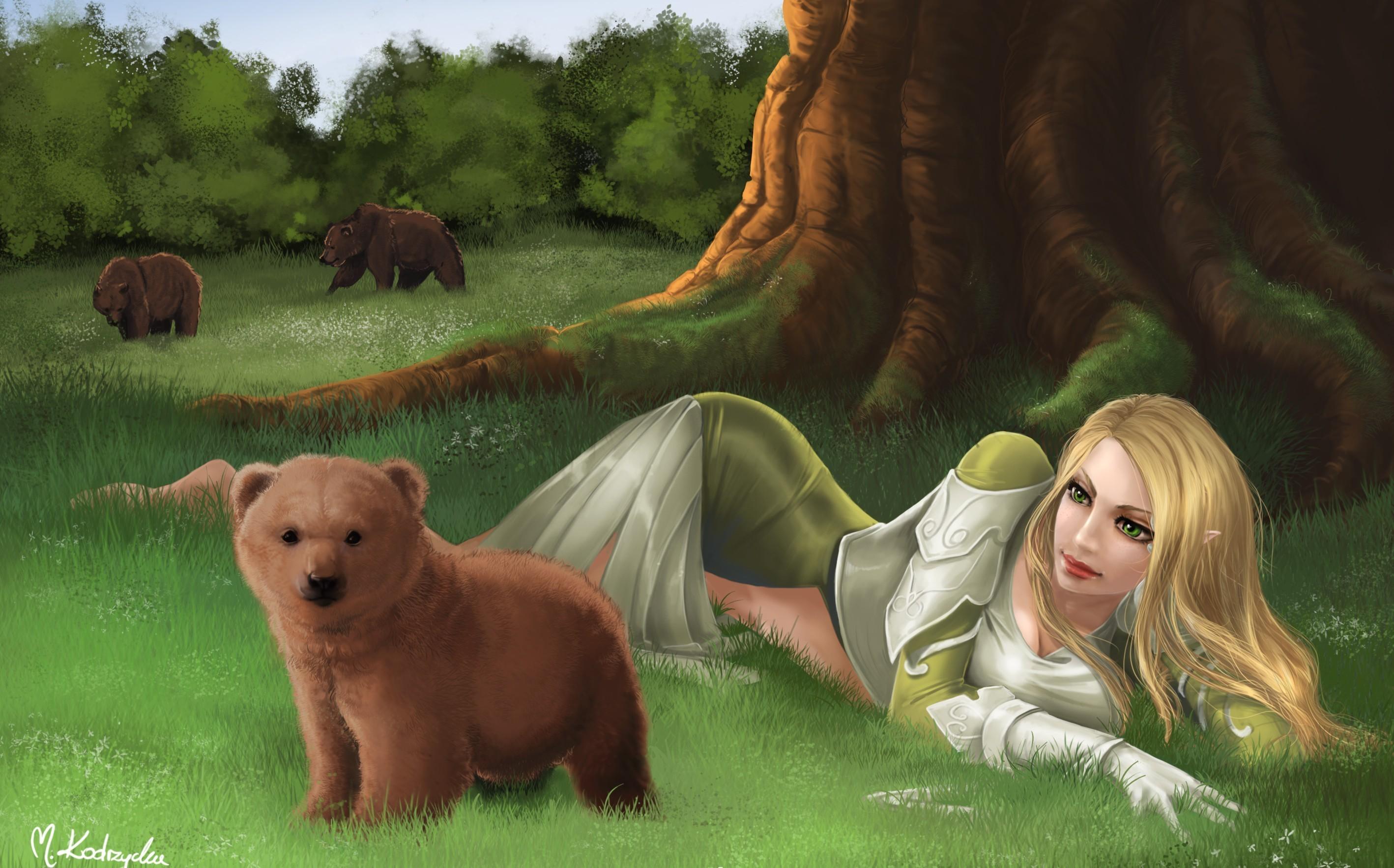 девушка эльф, скачать фото, обои на рабочий стол, медвежонок