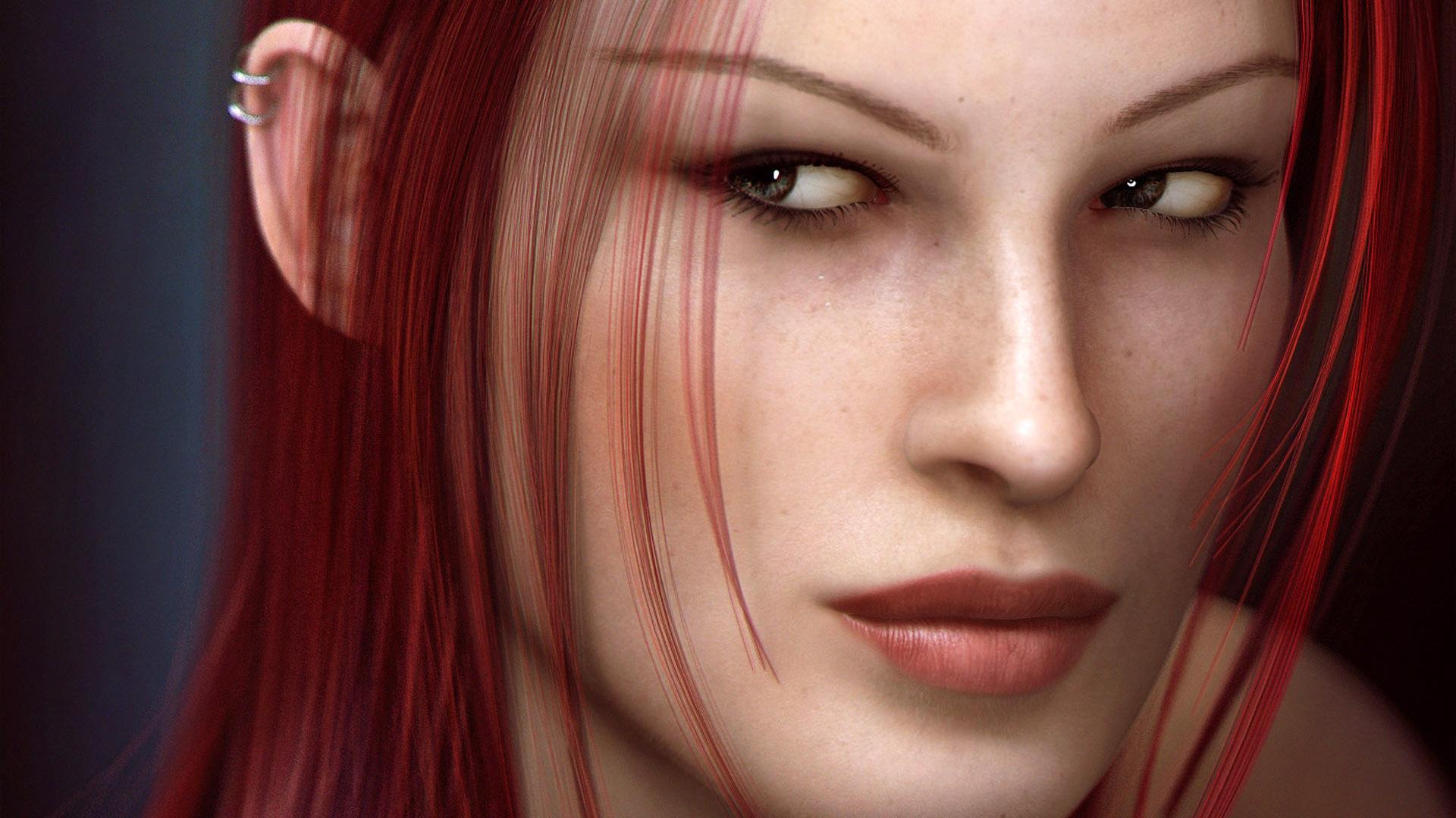 рыжеволосая девушка, фото, эльфийка, красивая девушка