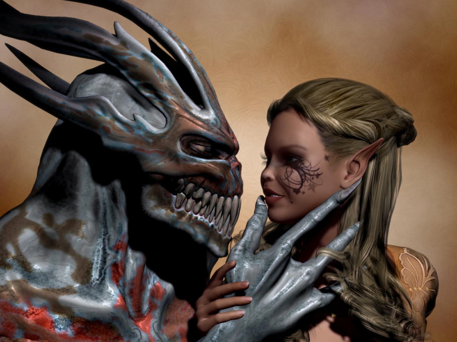 дьявол и девушка эльфийка, скачать фото, эльф
