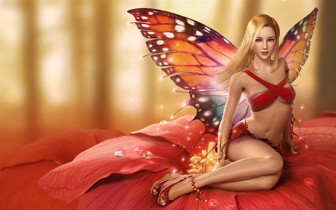 девушка фея бабочка, скачать фото, для рабочего стола