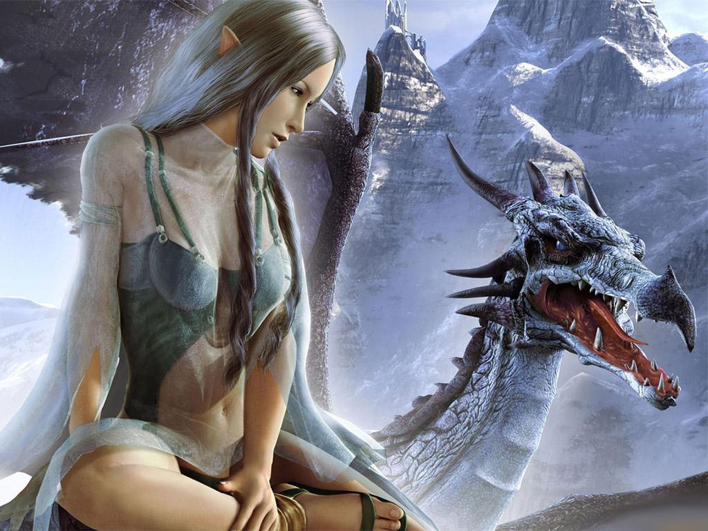 красивая девушка эльфийка и дракон, скачать фото, обои для рабочего стола, elf, dragon