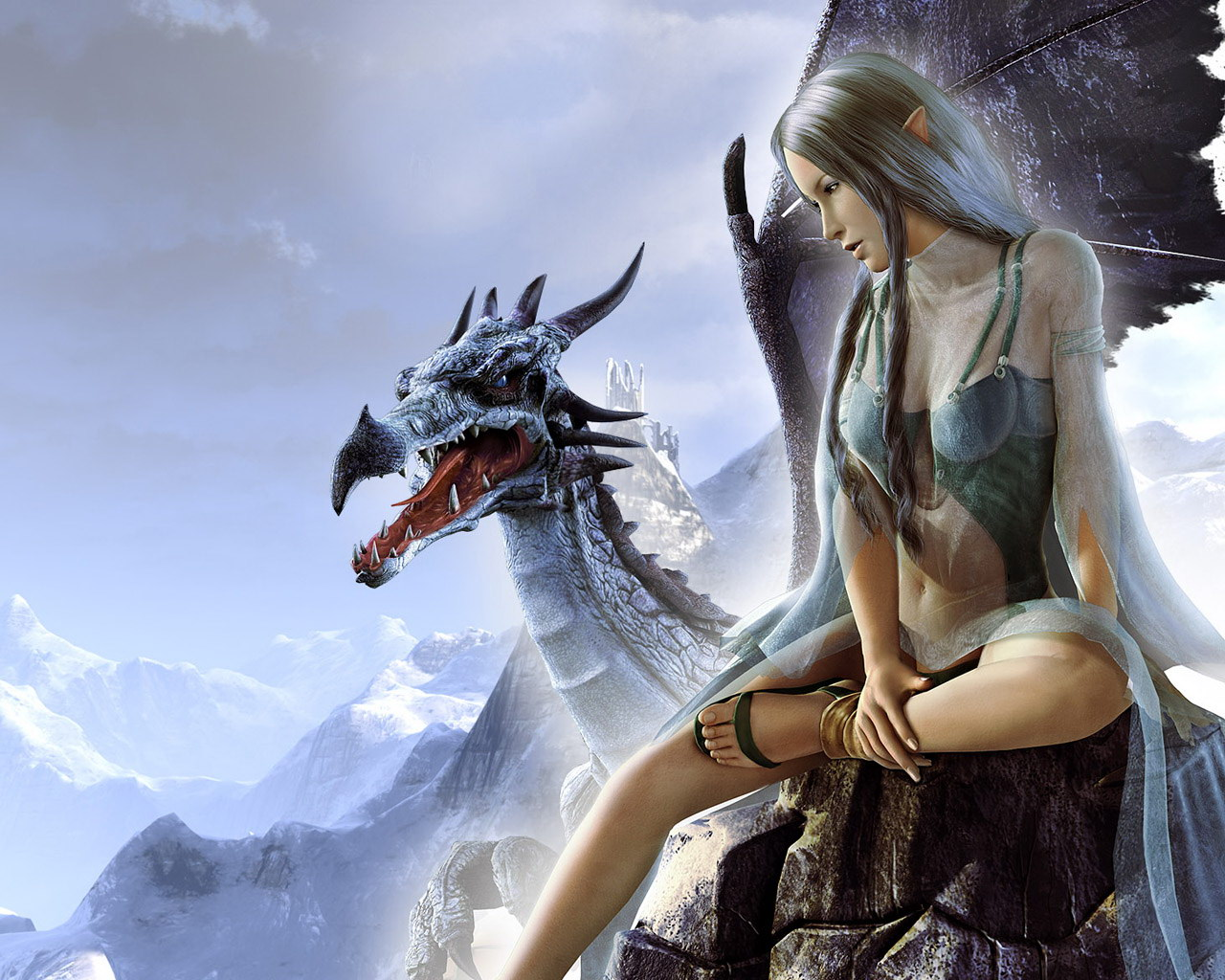 : beautiful girl elf woman and dragon, download photo, wallpapers ...