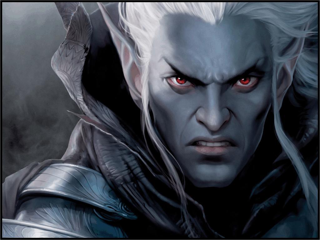 темный эльф, обои, рисунок, злой черный эльф, dark elf