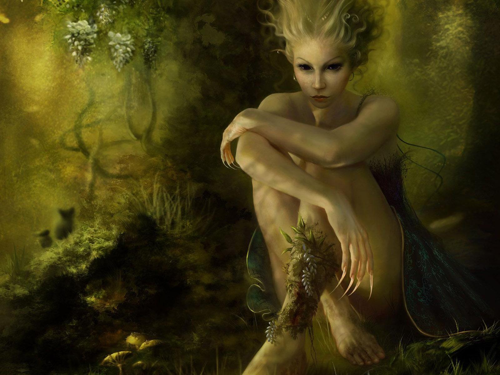 дриада, девушка, эльфийка, эльф, рисунок, обои на рабочий стол