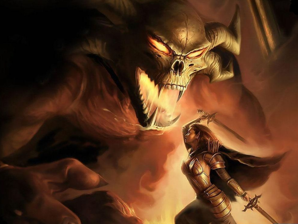 девушка эльфийка сражается с дьяволом, чудовище, рисунок, обои для рабочего стола