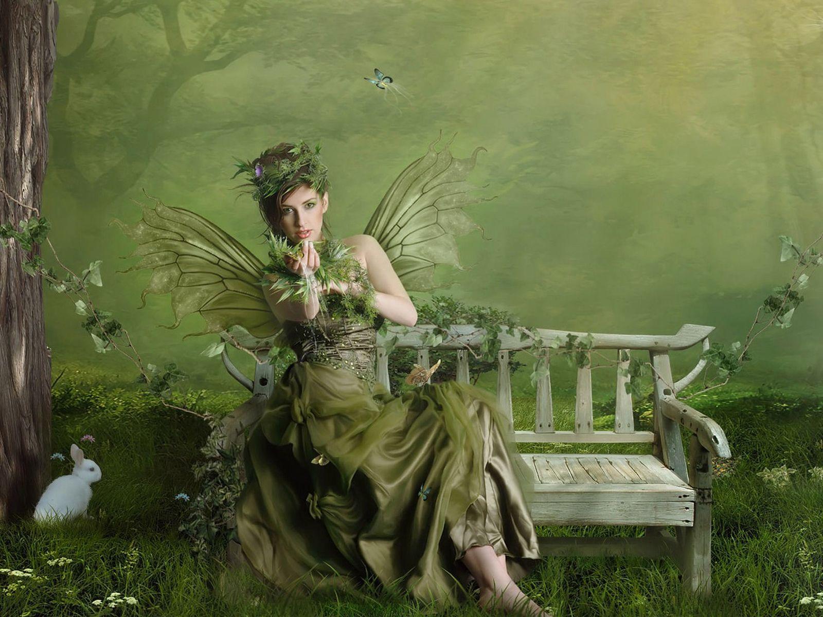 зеленая девушка, эльф, рисунок, фея, скачать фото