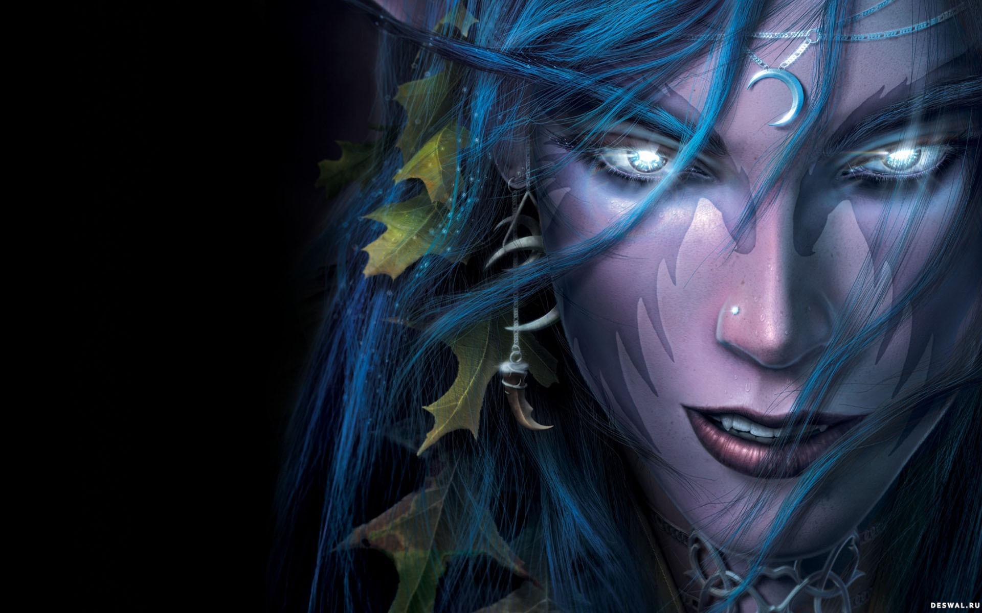 темный эльф, эльфийка, dark elf, wallpaper