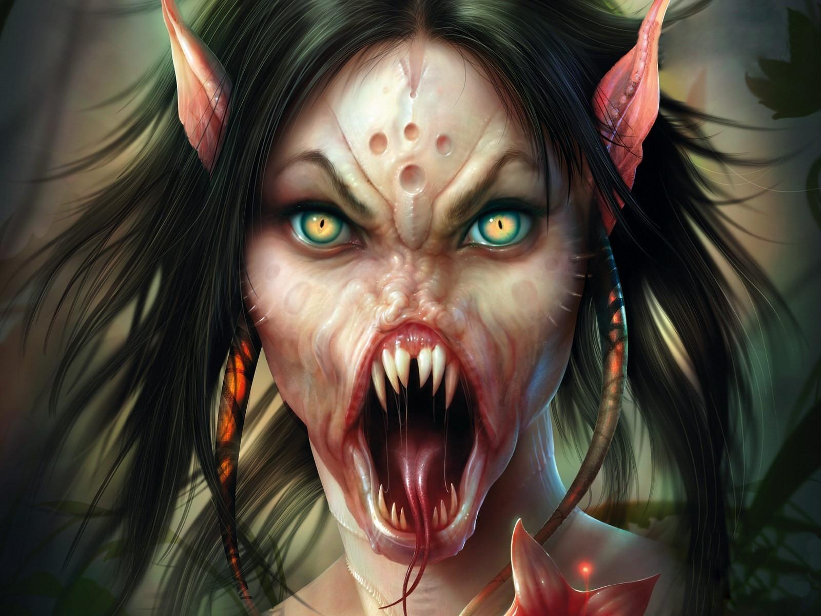 страшная девушка эльф, ужас, скачать фото, обои для рабочего стола