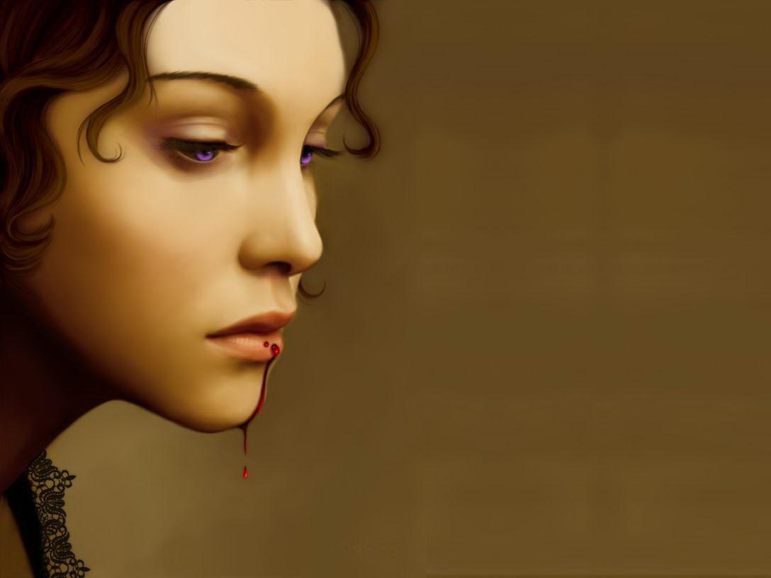 девушка вампир, рисунок, кровь на губах, скачать