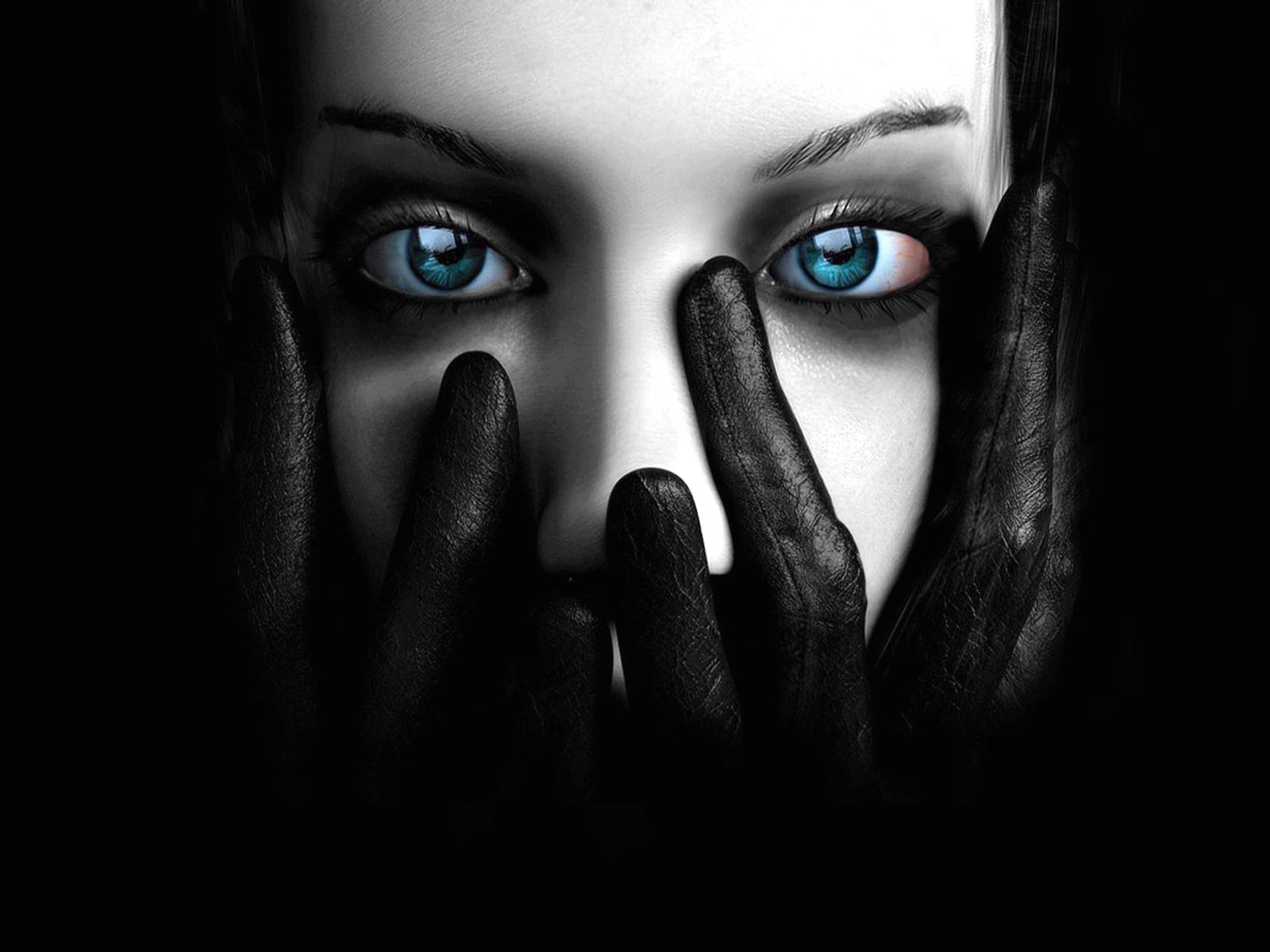 девушка, вампирша, синие глаза, скачать фото, обои для рабочего стола